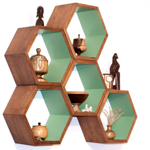 Storage Shelves - Honeycomb Shelving - Wood Floating Hexagon Shelves - Children's Furniture - Eco-Friendly Toy Storage - Set of 5 Large