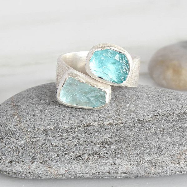 Poppy Jewellery Aquamarine And Apatite Adjustable Chunky Silver Ring (€205) ❤ liked on Polyvore featuring jewelry, rings, poppy jewelry, adjustable silver rings, chunk jewelry, chunky silver rings and silver rings