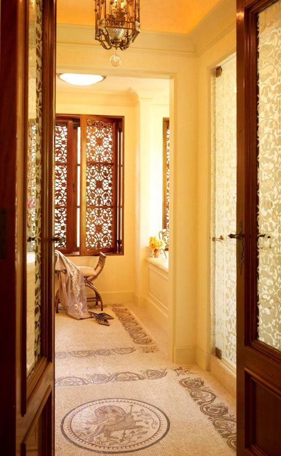 Classic Byzantine Masonry Is Also Etched Into The Shower Door And Bathroom Doors