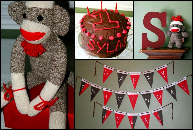 This DIY party is full of imagination and inspiration. #birthday #party: 1St Birthday Parties, Sock Monkeys, Aidens Birthday, Kiddie Parties, Kiddo Birthdays, Banner 1Stbirthday, Sock Monkey Birthday, 1St Birthdays, Birthday Party