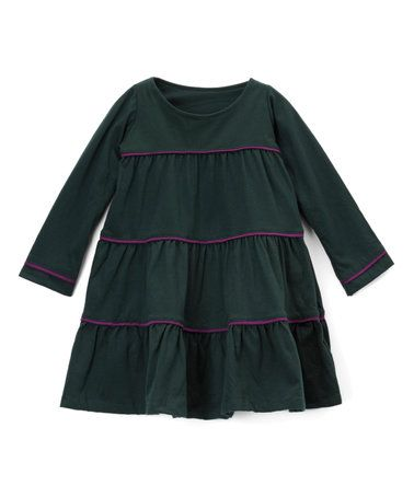 Look at this #zulilyfind! Dark Green Long-Sleeve Organic Cotton A-Line Dress - Girls #zulilyfinds