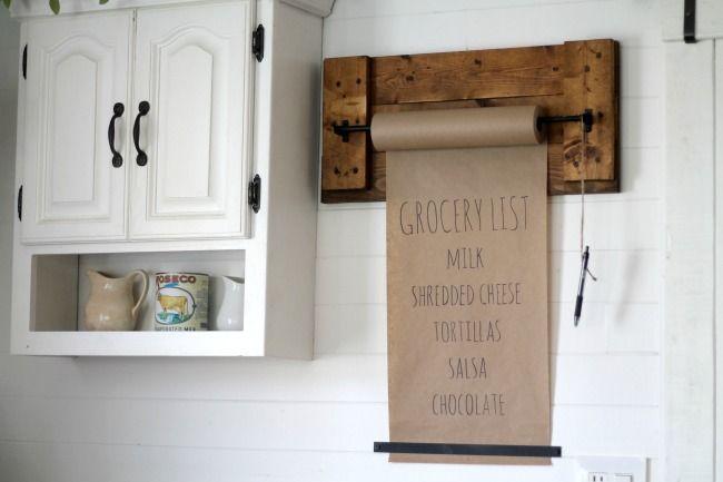 Easy to make butcher paper wall hung shopping list memo paper holder - www.knickoftime.net