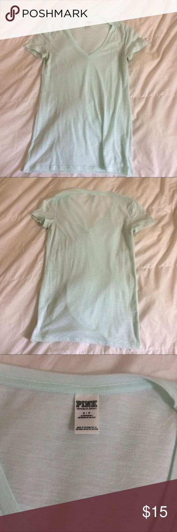 VS Pink cotton v neck mint shirt small So cute and comfy! Victoria's Secret PINK cotton v neck, size small in the color mint. A little sheer so a nude or white bra looks best with it! So light and easy for summer! PINK Tops Tees - Short Sleeve