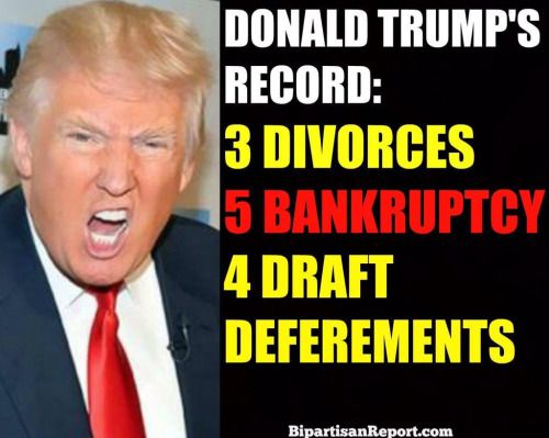 """The three time divorcee, accused of raping his first wife, running in the party of """"family values"""" and famous for the phrase """"you're fired"""" said """"I will be the best jobs president God ever created."""" When irony fucked stupidity, Donald Trump was born!"""