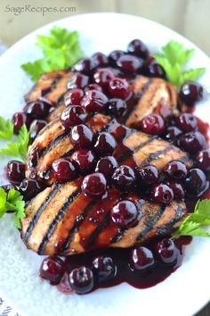 Grilled Chicken with Fresh Cherry Sauce....tart cherries... not sweet. Healthy dinner.