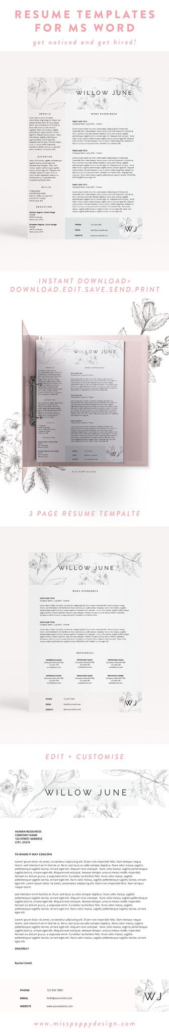 modern creative resume template cv template ms word instant download floral resume - Free Professional Resume Template