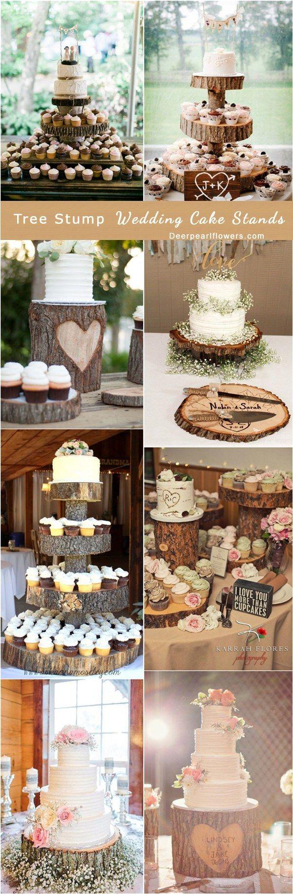 Rustic Tree Stump Wedding Cake Stand / http://www.deerpearlflowers.com/rustic-woodsy-wedding-trend-tree-stump/ #rustic #rusticwedding #countrywedding #weddingideas