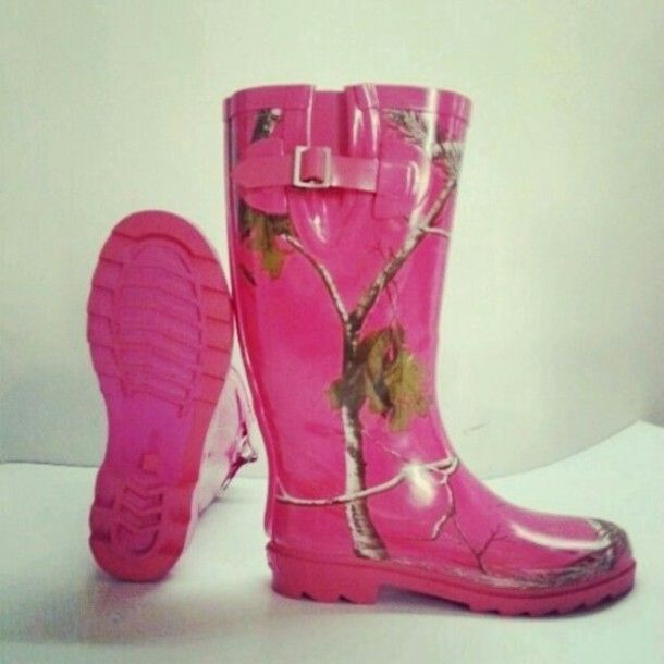 pink camo shoes | Shoes: rain boots, rubber boots, camouflage, hot pink, camo, boots ...