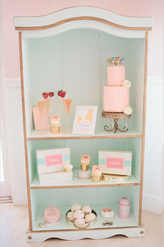 super cute dessert display at bridal shower #bridalshower #dessert #weddingchicks http://www.weddingchicks.com/2014/02/18/pink-and-blue-bridal-ask-party