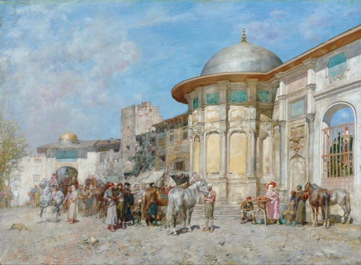 Alberto Pasini (Italian, 1826-1899). Horse market, Syria. Art Gallery of New South Wales, Sydney, Australia