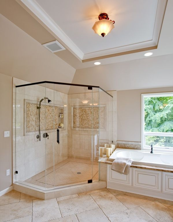 Traditional Master Bathroom With Specialty Window Travertine Tile Floors Concrete Tile Can