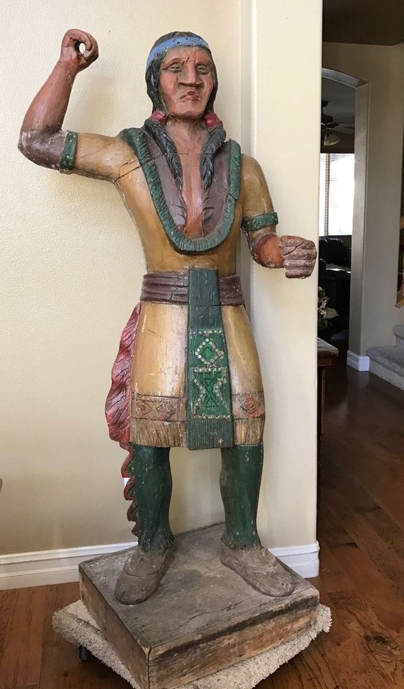 "74"" Antique Circa 1890s Original Tobacco Store Carved Indian Solid Wood on Base #Southwestern #Unknown"