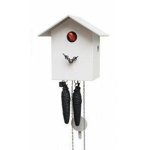 Cuckoo Clock - 1-Day Bird House Modern Clock in White - Romba