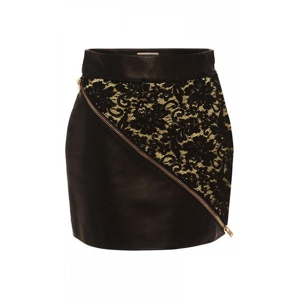 Fausto Puglisi Leather and Lace Mini Skirt ($406) ❤ liked on Polyvore featuring skirts, mini skirts, short mini skirts, lace mini skirt, short leather skirt, pencil skirts and short pencil skirt