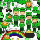 Happy St. Patrick's Day! This 46 piece St. Patrick's Day clipart bundle features 3 different leprechauns, 5 leprechaun kids, a rainbow, pot of gold...