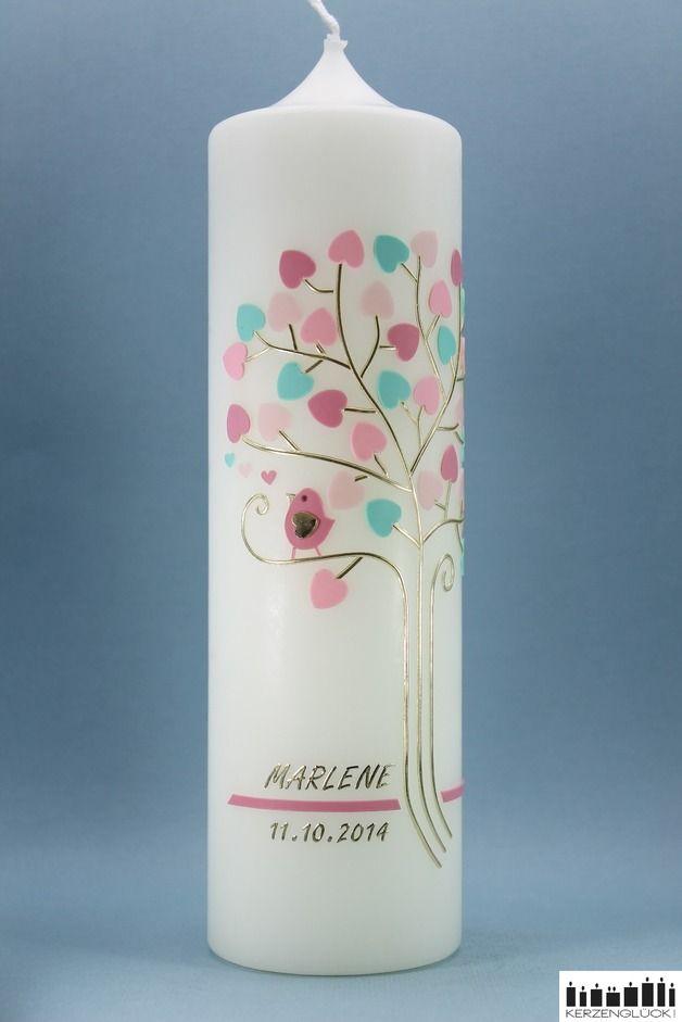 "Taufkerzen - Taufkerze ""Goldener Lebensbaum-Pastell"" - ein Designerstück von mein-kerzenglueck bei DaWanda"