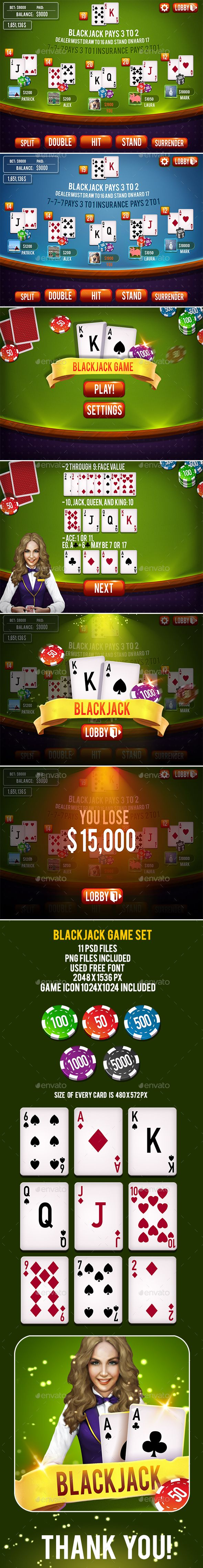 Blackjack Card Game Set — Photoshop PSD #sprite sheets #poker chips • Available here → https://graphicriver.net/item/blackjack-card-game-set/16173335?ref=pxcr