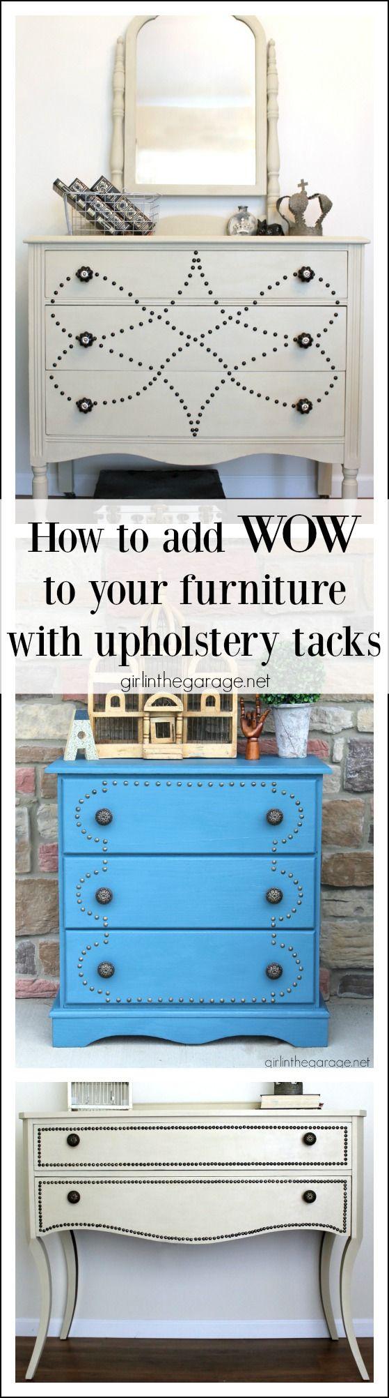 Cómo agregar WOW para muebles con tachuelas de tapicería - girlinthegarage.net