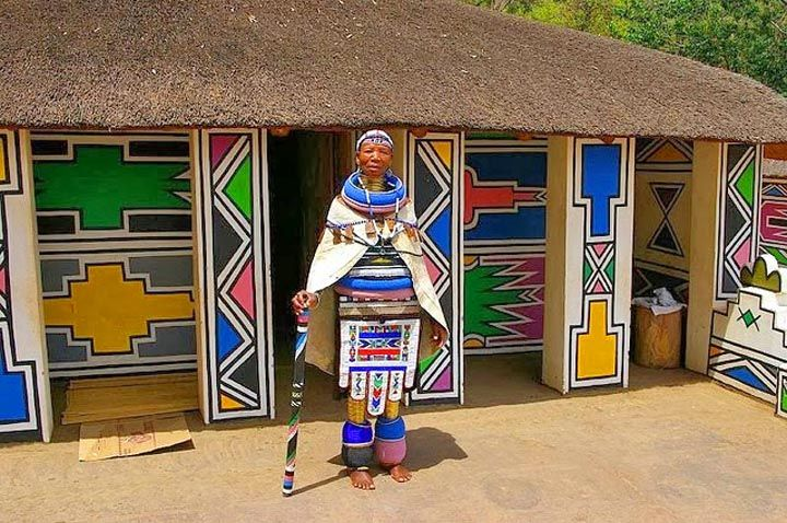 Visit the Ndebele The Ndebele, their painted houses, highly Colorful ornate costumes and unique culture, are world famous. Their bead work is simply out of this world. An important tribe, their  'homeland' lies north and west of Pretori