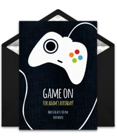 Customizable, free Game Controller online invitations. Easy to personalize and send for a video game party. #punchbowl