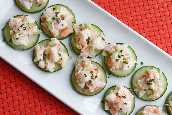 Shrimp salad on cucumber slices is perfect as an appetizer, snack or have it on bread for lunch!  I always keep Greek yogurt on hand to lighten up recipes that require mayonnaise. I combined the mayo with the Greek yogurt to keep it light and creamy and the results were delicious. This yields about 1 lb salad without the cucumbers.    Also great served on whole grain toast.    Shrimp Salad on Cucumber Slices Gina's Weight Watcher Recipes   As an Appetizer: Servings: 30 • Serving Size: 1…