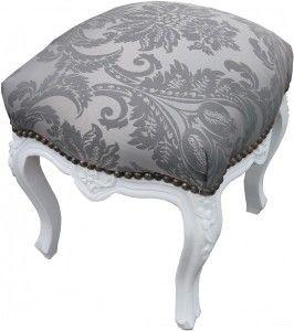 Casa Padrino Barock Sitzhocker Grau Muster / Weiß Höhe 40 cm, Breite 35 cm - Barock Möbel – Bild 2