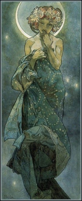 "Moonlight by Mucha (i c Selene: the Goddess of the Moon in Greek mythology, and her name means ""Moon"". Selene was known to have several lovers. One lover was the god of the wild, Pan.)"