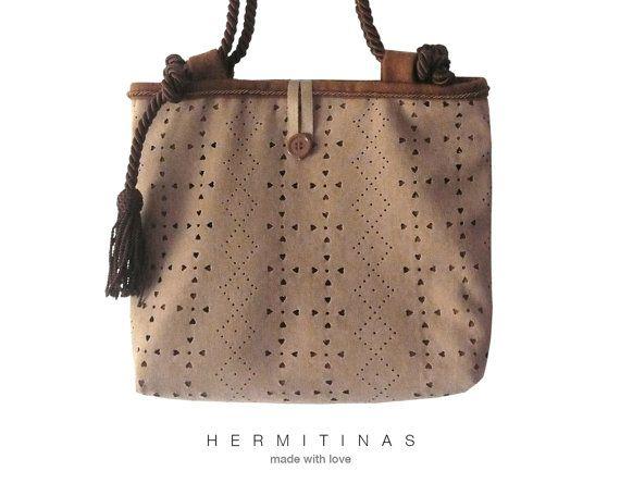 Handmade Brown Bag.Brown  Shoulder bag. Handmade by Hermitinas