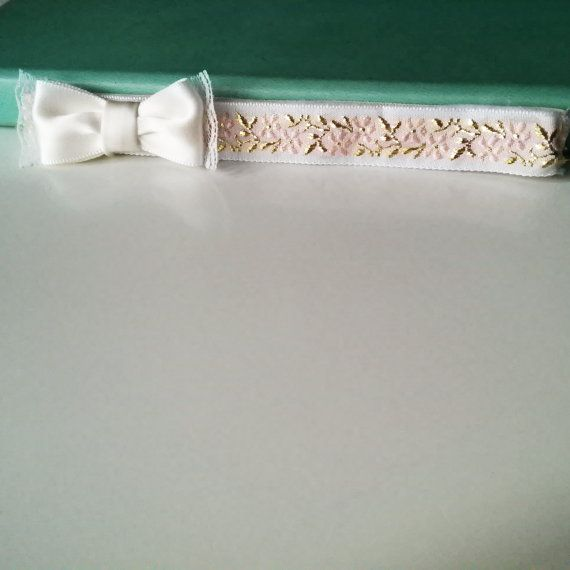 Lovely Embroidered Baby Headband with an Ivory Lace Trimmed Bow @TheBerkeleyBowCo.