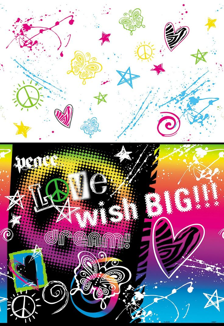 Peace Sign Party Plastic Tablecover from BirthdayExpress.com