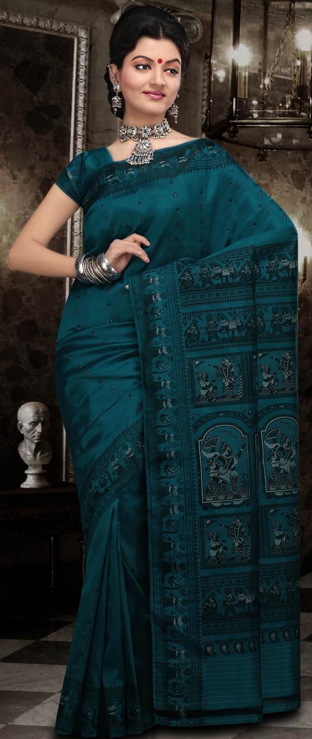 #Blue Bengal Handloom Baluchari #Silk #Saree With #Blouse @ US $144.16