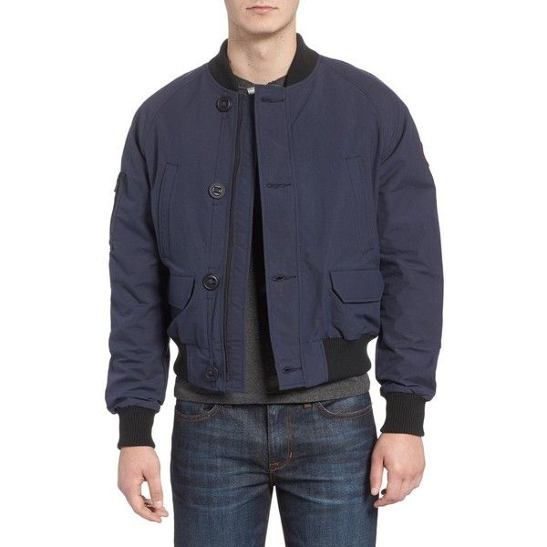 Men's Canada Goose Faber Bomber Jacket ($395) ❤ liked on Polyvore featuring men's fashion, men's clothing, men's outerwear, men's jackets, mens blouson jacket, mens insulated jackets, mens jackets and canada goose mens jacket
