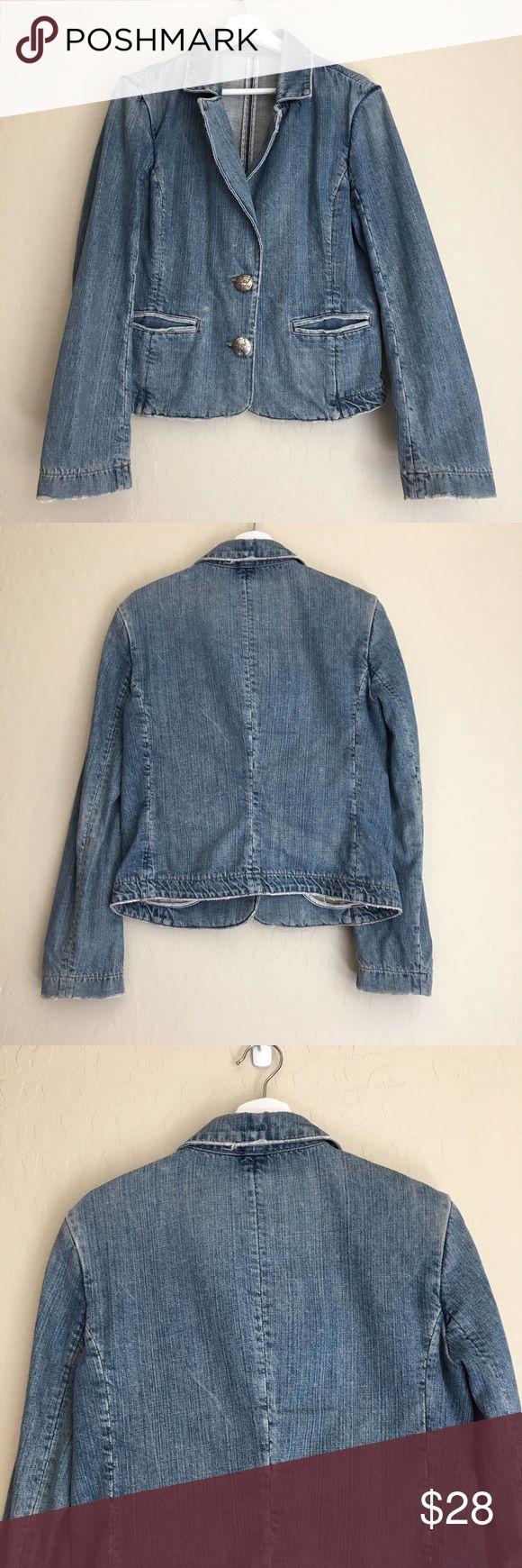 Paige Wilshire Blvd Denim Blazer Versatile denim blazer by premium brand Paige. Features two button closure and double front pockets. Good preloved condition. Paige Jeans Jackets & Coats