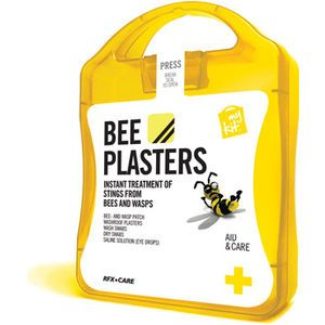 The MyKit Bee Plasters includes 3 Bee and Wasp Sting Treatments, 2 Wash Swabs, 2 Dry Swab Plasters, 5 Washproof Plasters and 1 Saline Soluti...