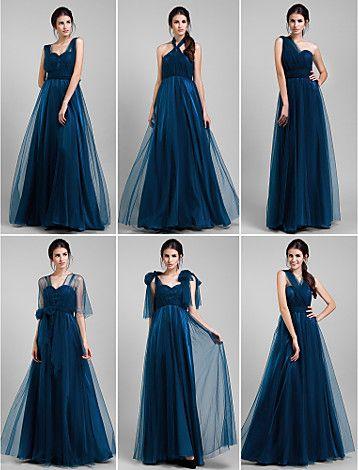 robe de demoiselle d'honneur de sol longueur tulle robe convertible de ligne (1739560) - USD $ 104.99