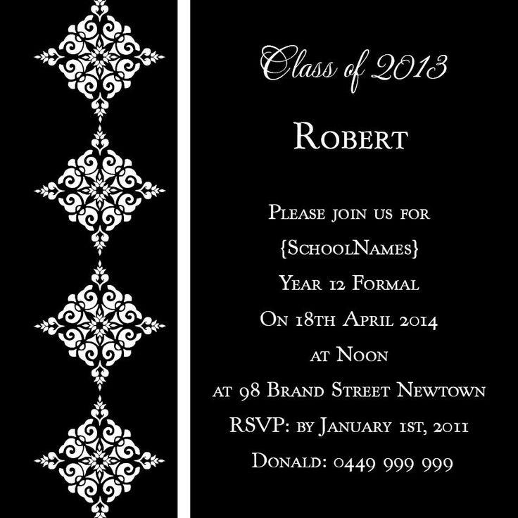 White and Black Diamonds Square w\/ Magnet in Black Invitation - formal invitation