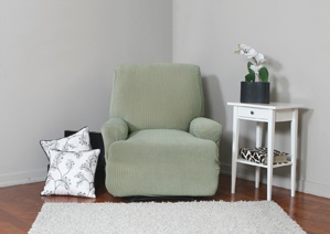 Spencer Sage Recliner Slipcover. Plush, velvety surface with deeply embossed lines, form fit slip cover design for your home, chic interior design