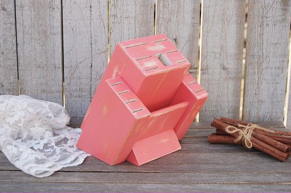 $49. Knife Block, Coral, Upcycled, Shabby Chic, Kitchen Organizer