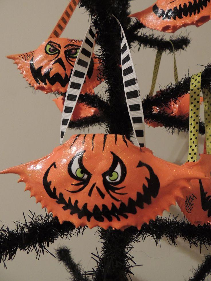 crab shell hand painted halloween ornament nautical halloween