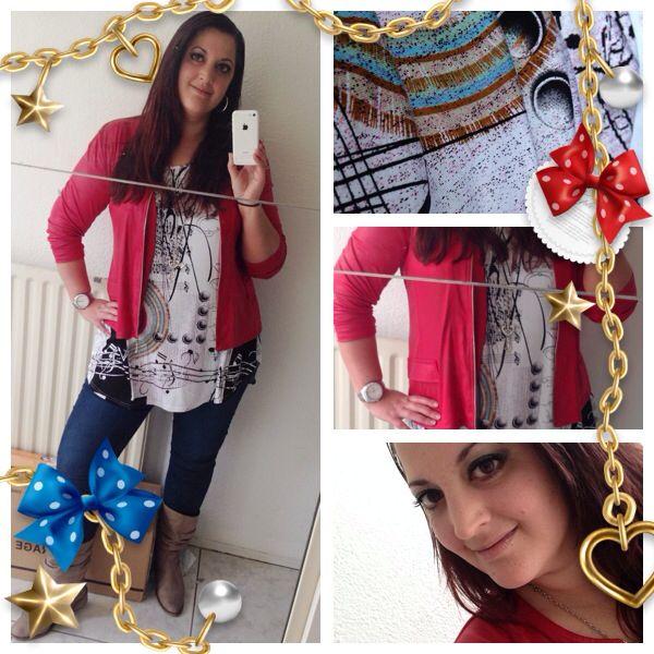 Rood jasje van Magna, shirt van Subel en tregging van H&M. Lovefashionxl.nl