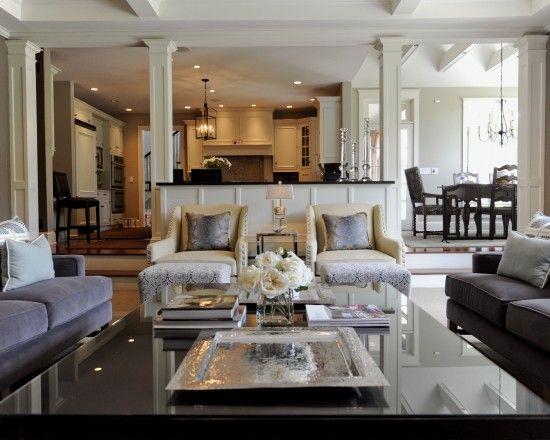 kitchen, dining room and sunken living room