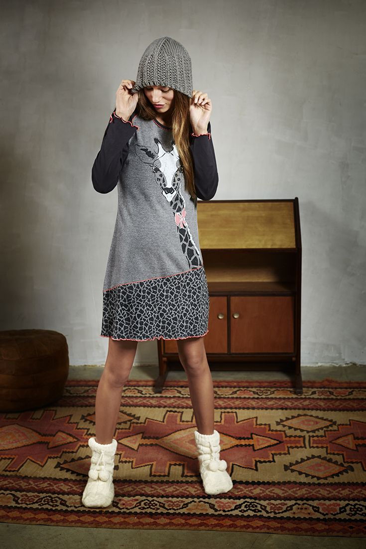 Cute & lovely 'Gilly Giraffe' dark grey Rebelle nightdress with an adorable print design and cute frilled edges & bows