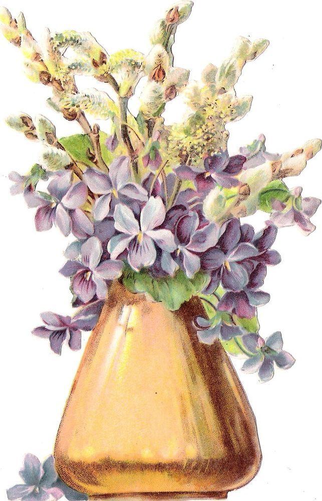Oblaten Glanzbild scrap die cut chromo  Ostern  Blumen Strauß  15,4 cm  Veilchen