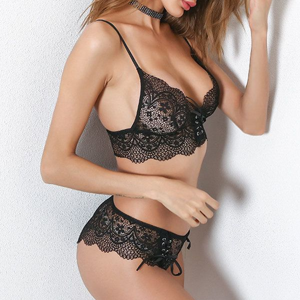 Sexy Sexy Lacing Plunge Crocheted Bra Sets Lingerie - NewChic