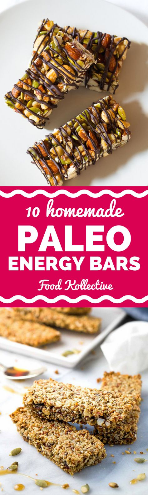 I was looking up recipes for homemade Paleo energy bars and these look perfect! There are recipes with chocolate, fruit, nuts, coconut, chia seeds, and more. I can't wait to make these for a quick and easy Paleo snack! Collected on FoodKollective.com
