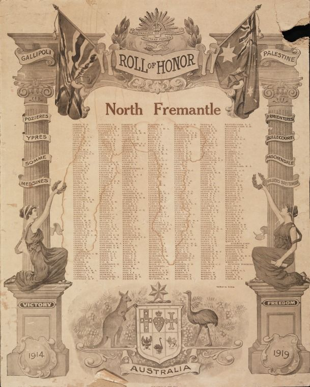 North Fremantle Roll of honour, 1914-18.  http://encore.slwa.wa.gov.au/iii/encore/record/C__Rb1945434__Sroll%20of%20honour%20__P0%2C9__Orightresult__U__X6?lang=eng&suite=def#attachedMediaSection