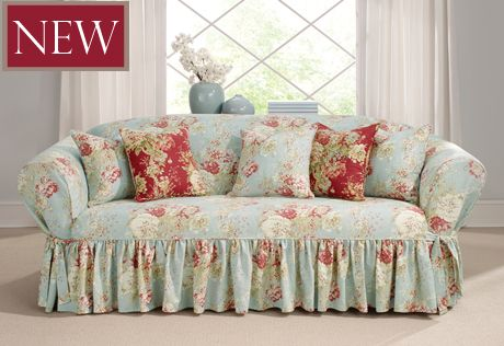 Sure Fit Slipcovers Ballad Bouquet One Piece Slipcovers - Sofa in color Robins Egg  #floral #slipcover