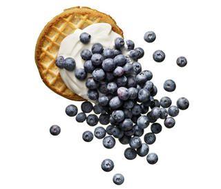 Waffle Topped with Yogurt and Blueberries http://www.rodalewellness.com/food/healthy-breakfast-recipes?slide=15