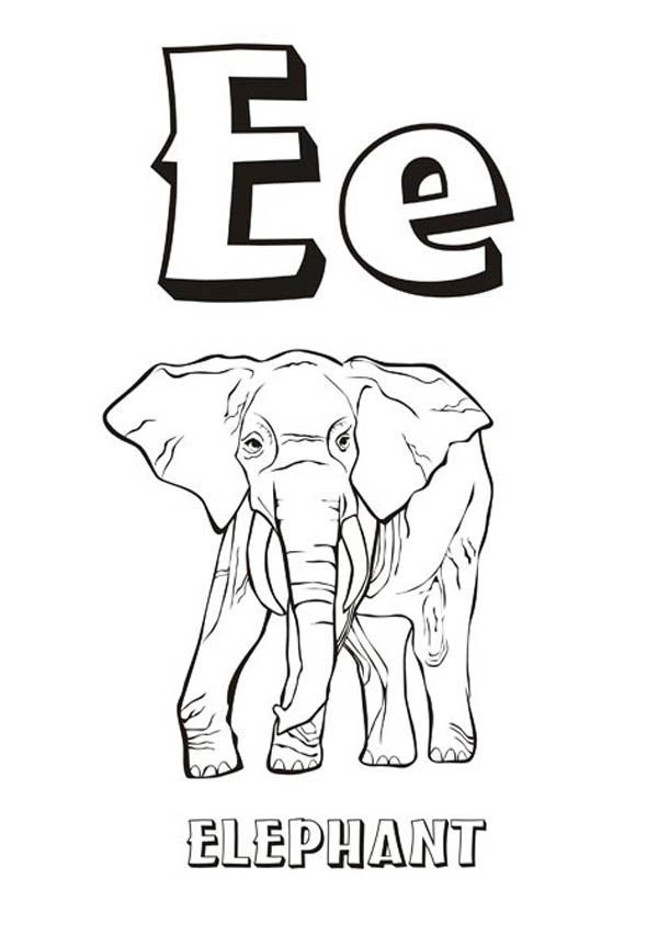 Upper And Lower Case Letter E For Elephant Coloring Page