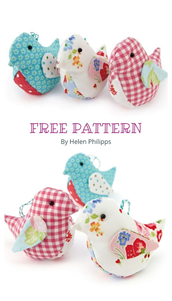 DIY textile baby toy Stuffed Animal Bird Sewing Pattern PDF